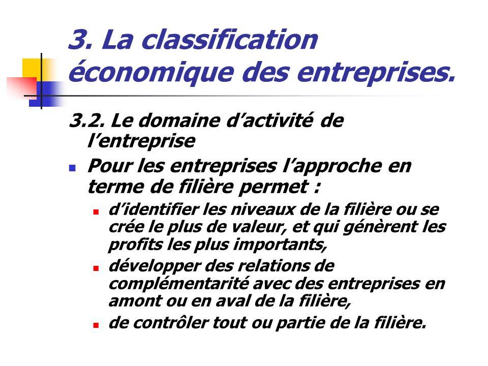 3. La classification économique des entreprises. 3.2. Le domaine dactivité de lentreprise Pour les entreprises lapproche en terme de filière permet :