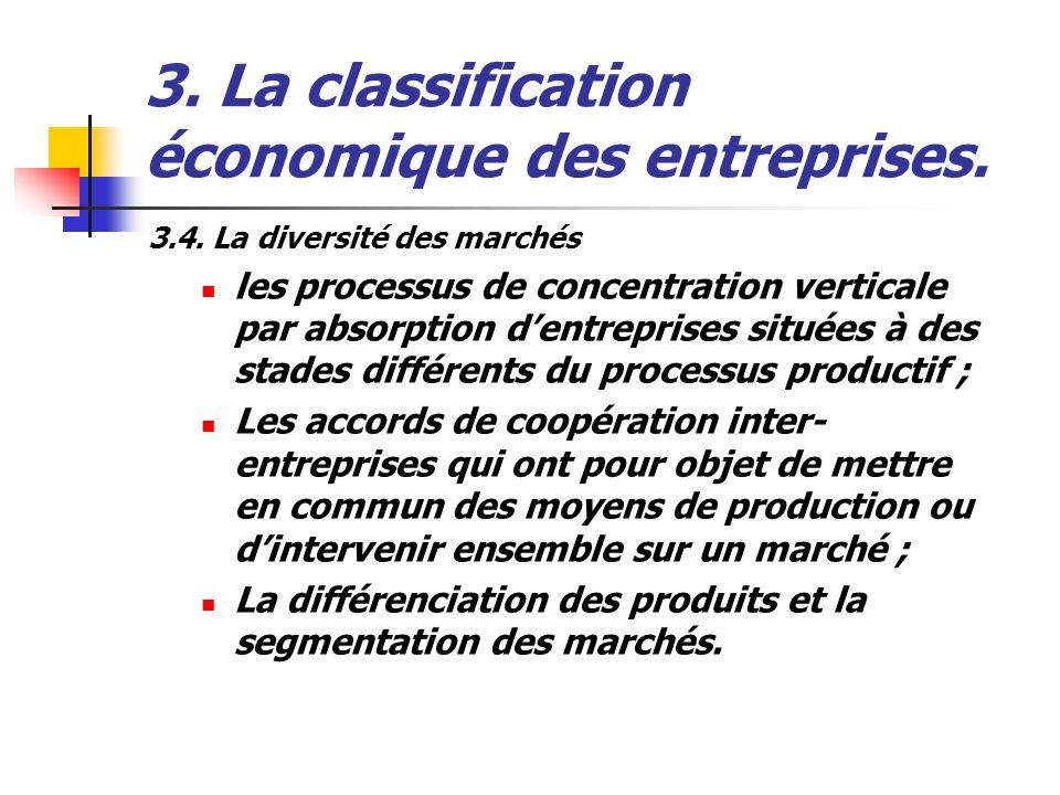 3. La classification économique des entreprises. 3.4. La diversité des marchés les processus de concentration verticale par absorption dentreprises si