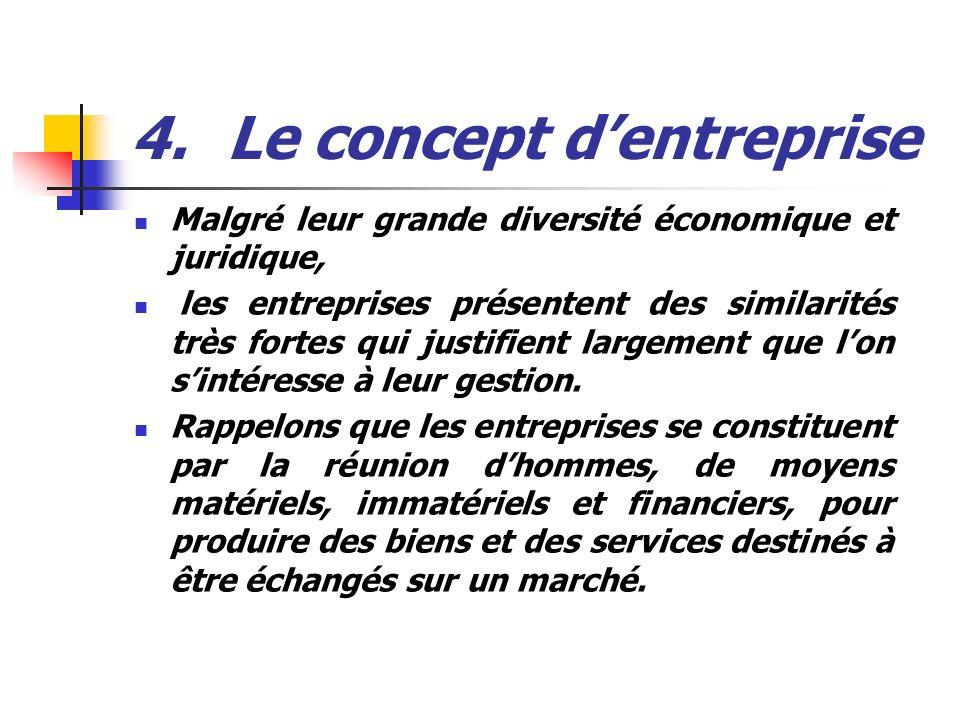 4.Le concept dentreprise Malgré leur grande diversité économique et juridique, les entreprises présentent des similarités très fortes qui justifient l