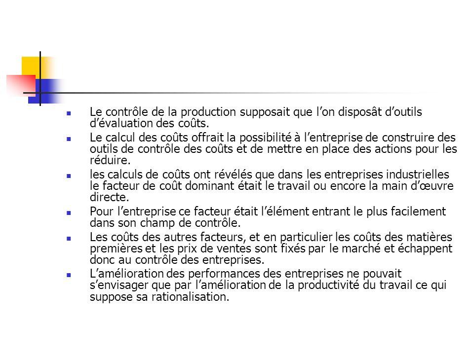 Le contrôle de la production supposait que lon disposât doutils dévaluation des coûts. Le calcul des coûts offrait la possibilité à lentreprise de con