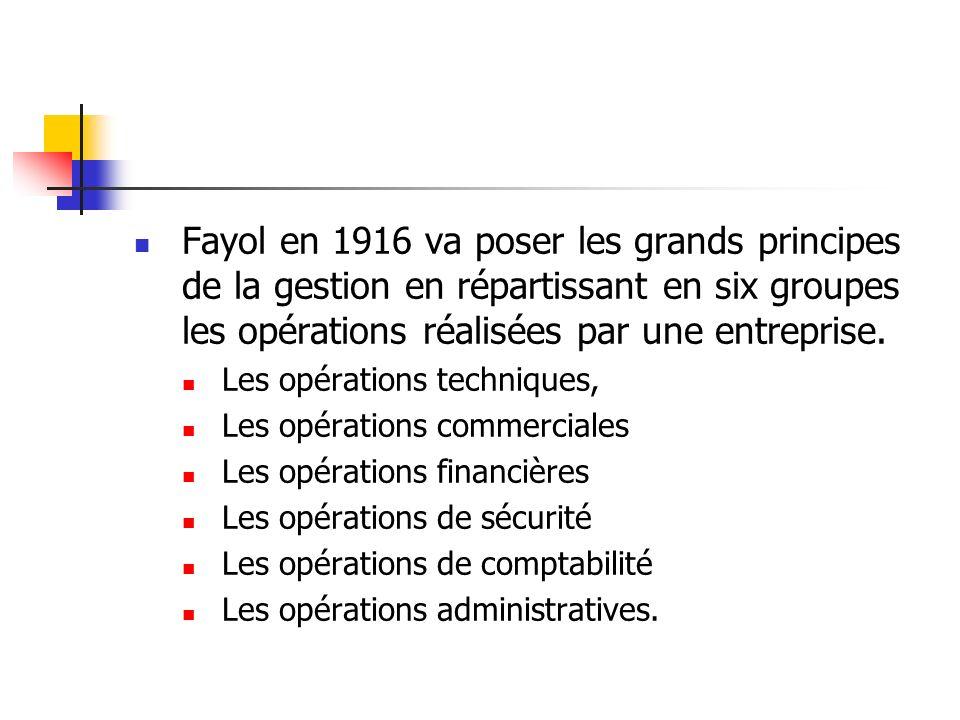 Fayol en 1916 va poser les grands principes de la gestion en répartissant en six groupes les opérations réalisées par une entreprise. Les opérations t