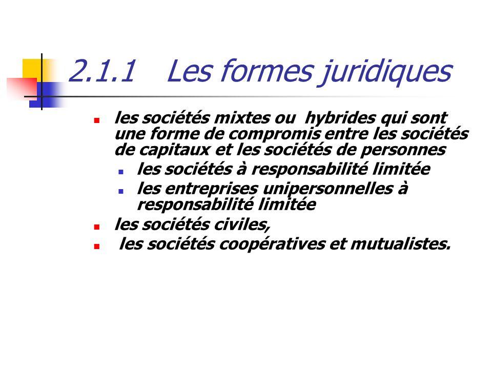 2.1.1Les formes juridiques les sociétés mixtes ou hybrides qui sont une forme de compromis entre les sociétés de capitaux et les sociétés de personnes