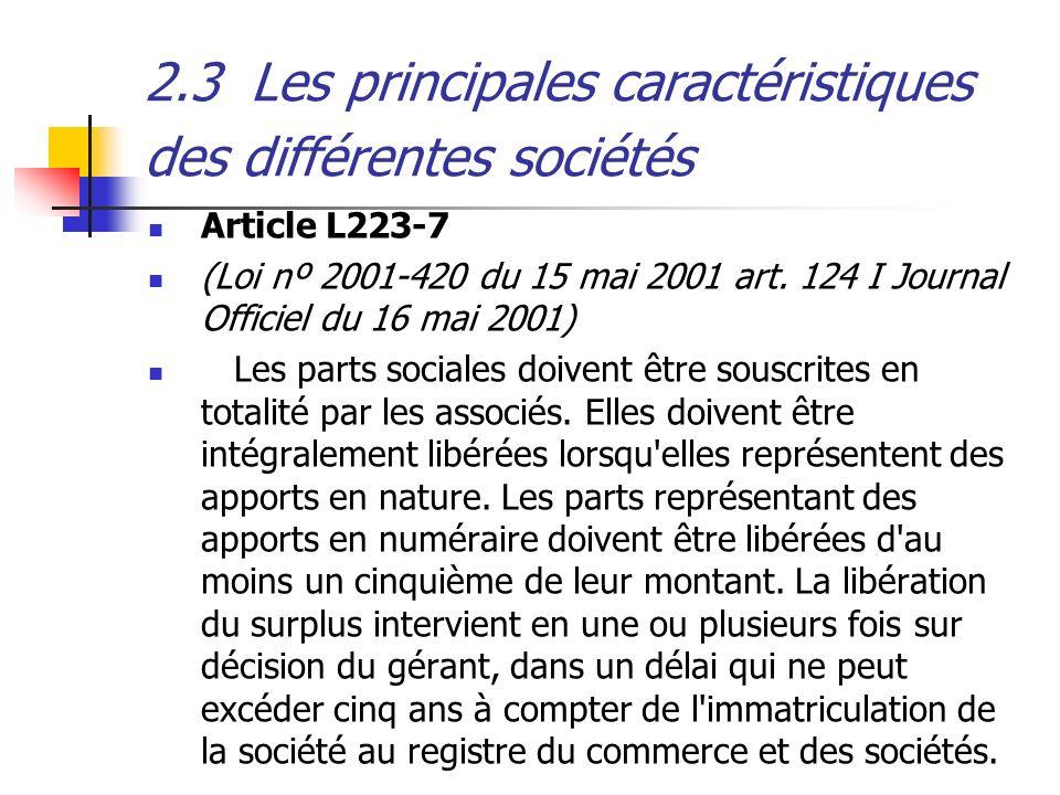 2.3Les principales caractéristiques des différentes sociétés Article L223-7 (Loi nº 2001-420 du 15 mai 2001 art. 124 I Journal Officiel du 16 mai 2001