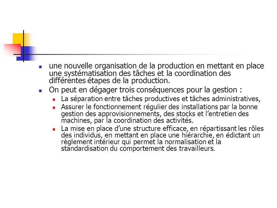 une nouvelle organisation de la production en mettant en place une systématisation des tâches et la coordination des différentes étapes de la producti