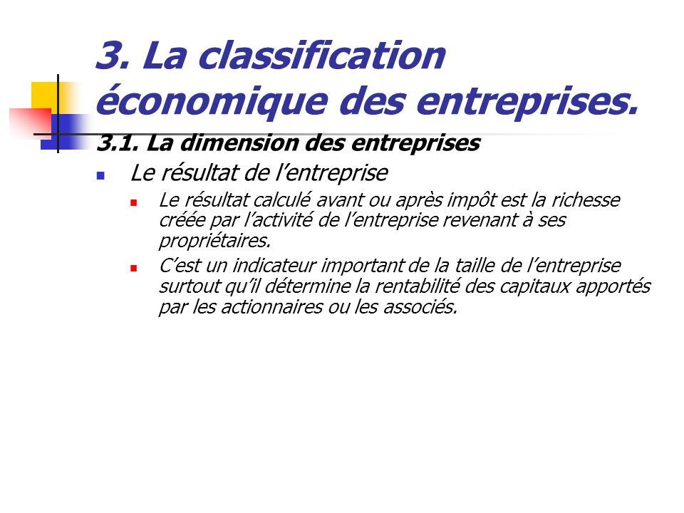 3. La classification économique des entreprises. 3.1. La dimension des entreprises Le résultat de lentreprise Le résultat calculé avant ou après impôt