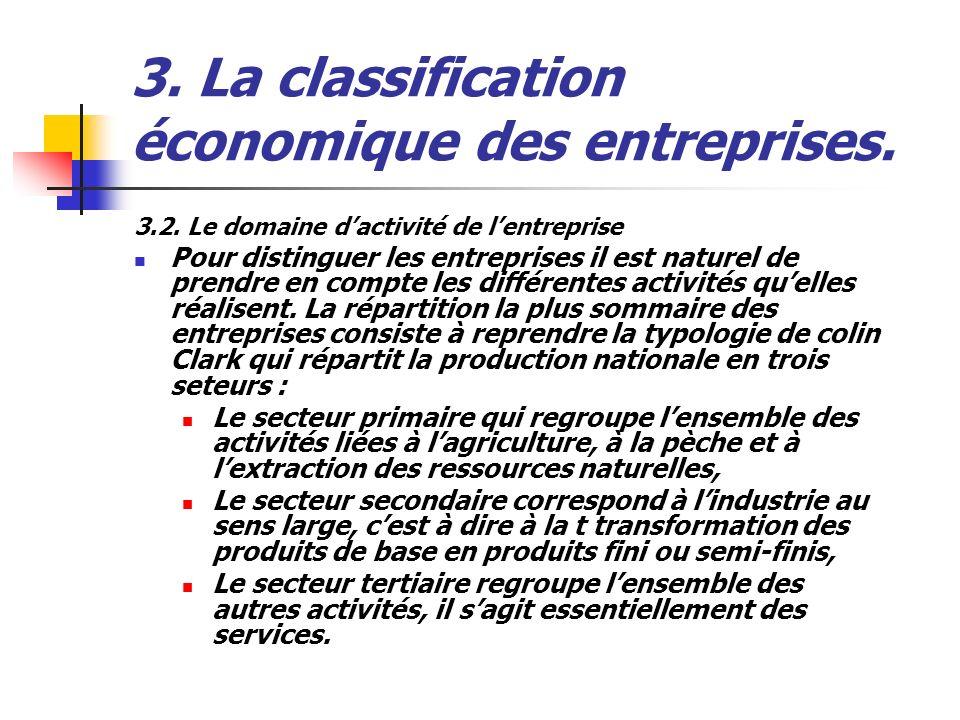 3. La classification économique des entreprises. 3.2. Le domaine dactivité de lentreprise Pour distinguer les entreprises il est naturel de prendre en