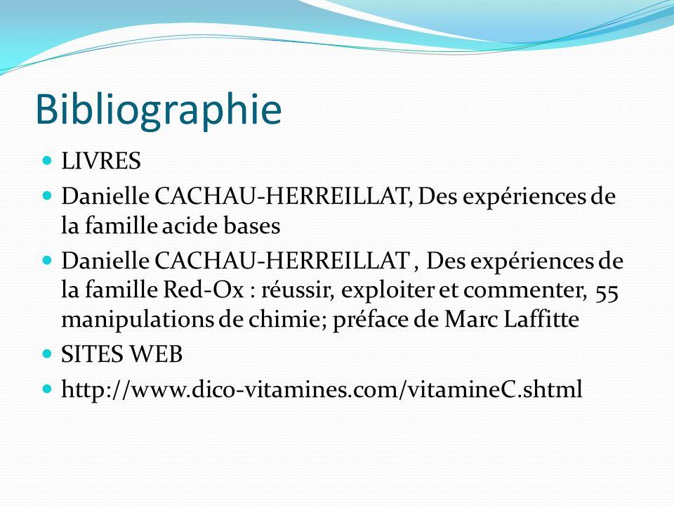 Bibliographie LIVRES Danielle CACHAU-HERREILLAT, Des expériences de la famille acide bases Danielle CACHAU-HERREILLAT, Des expériences de la famille R