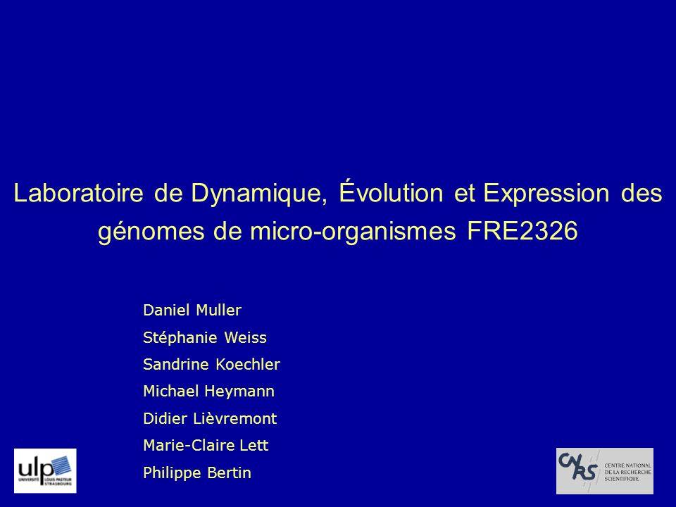 Laboratoire de Dynamique, Évolution et Expression des génomes de micro-organismes FRE2326 Daniel Muller Stéphanie Weiss Sandrine Koechler Michael Heym