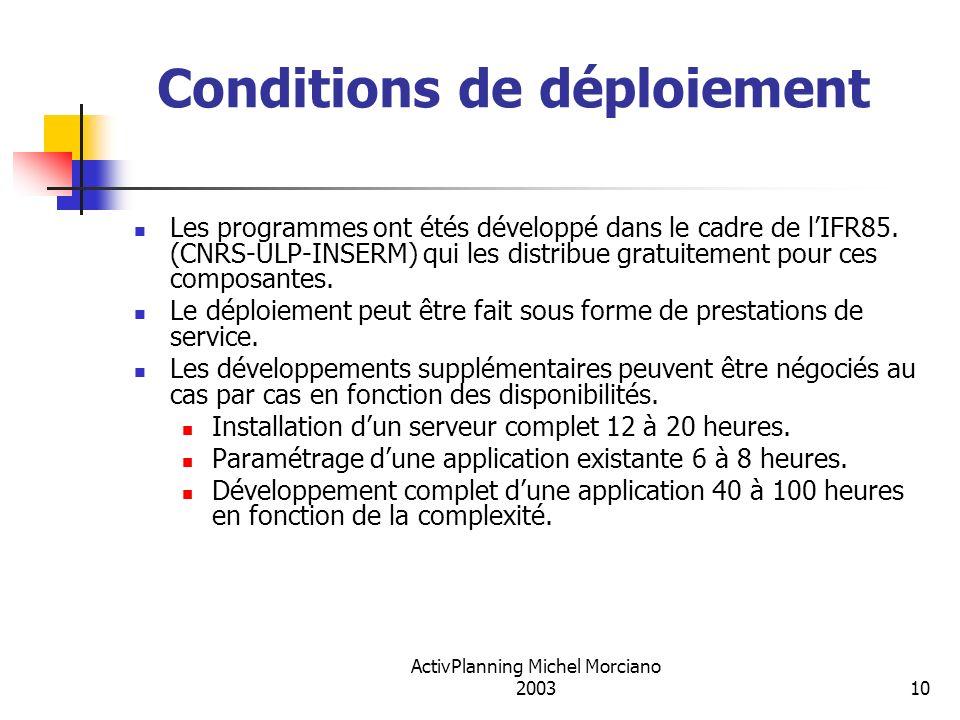 ActivPlanning Michel Morciano 200310 Conditions de déploiement Les programmes ont étés développé dans le cadre de lIFR85. (CNRS-ULP-INSERM) qui les di