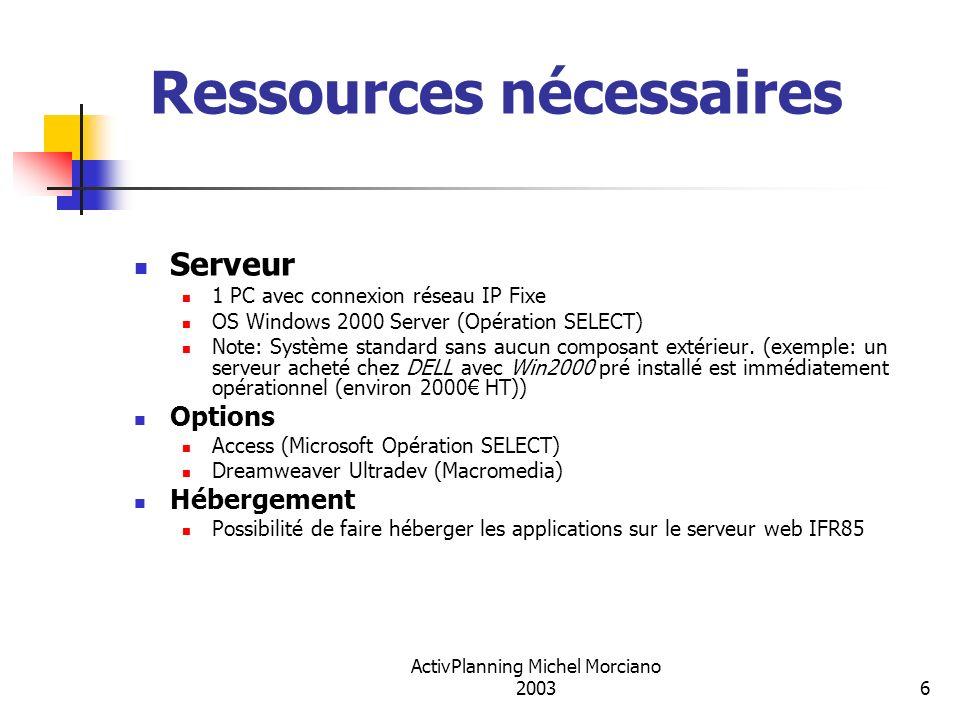 ActivPlanning Michel Morciano 20036 Ressources nécessaires Serveur 1 PC avec connexion réseau IP Fixe OS Windows 2000 Server (Opération SELECT) Note: