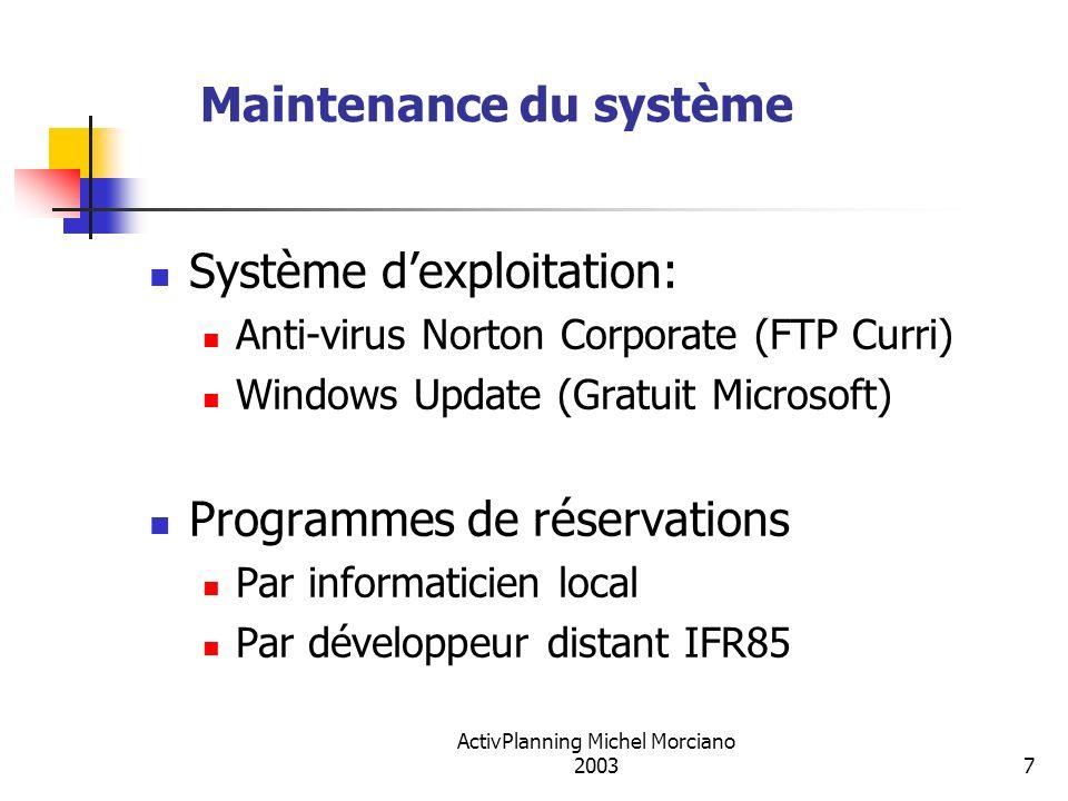 ActivPlanning Michel Morciano 20037 Maintenance du système Système dexploitation: Anti-virus Norton Corporate (FTP Curri) Windows Update (Gratuit Micr