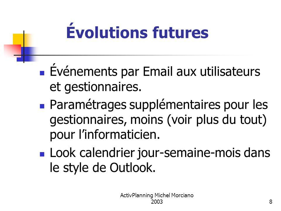 ActivPlanning Michel Morciano 20038 Évolutions futures Événements par Email aux utilisateurs et gestionnaires. Paramétrages supplémentaires pour les g