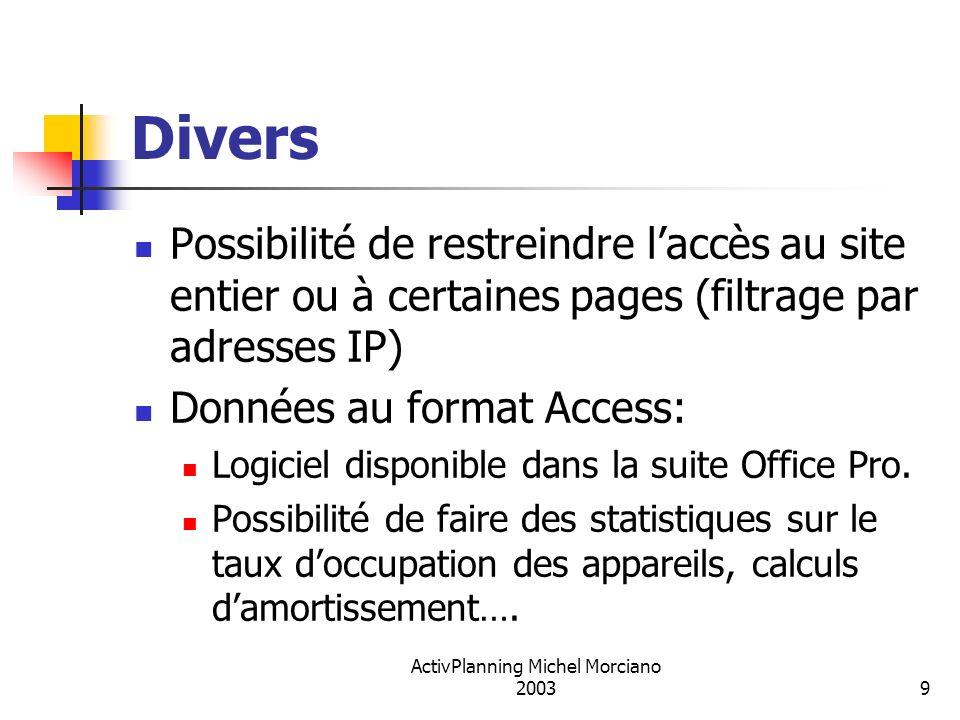 ActivPlanning Michel Morciano 20039 Divers Possibilité de restreindre laccès au site entier ou à certaines pages (filtrage par adresses IP) Données au