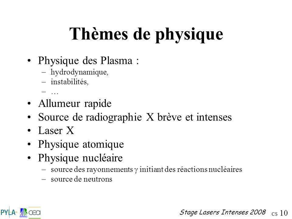 CS 10 Stage Lasers Intenses 2008 Thèmes de physique Physique des Plasma : –hydrodynamique, –instabilités, –… Allumeur rapide Source de radiographie X