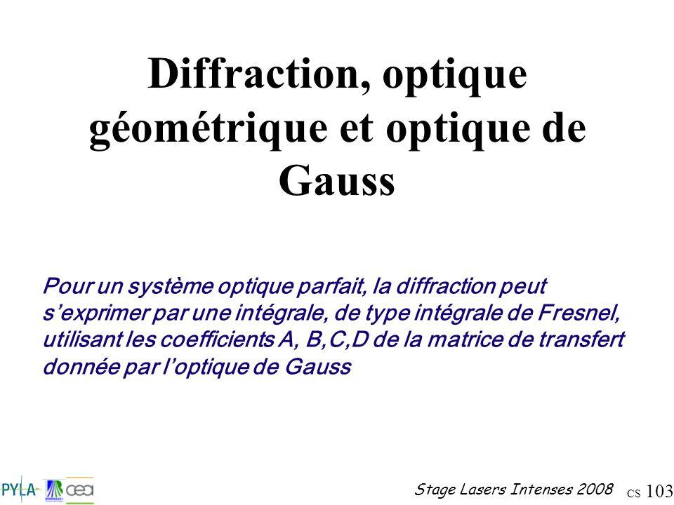 CS 103 Stage Lasers Intenses 2008 Diffraction, optique géométrique et optique de Gauss Pour un système optique parfait, la diffraction peut sexprimer