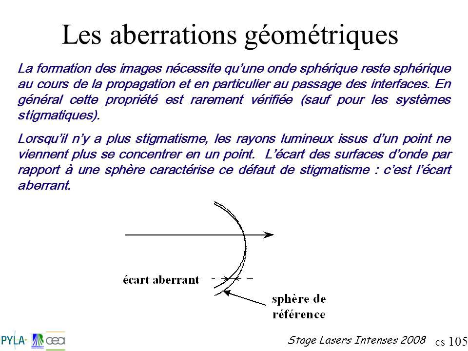 CS 105 Stage Lasers Intenses 2008 Les aberrations géométriques La formation des images nécessite quune onde sphérique reste sphérique au cours de la p