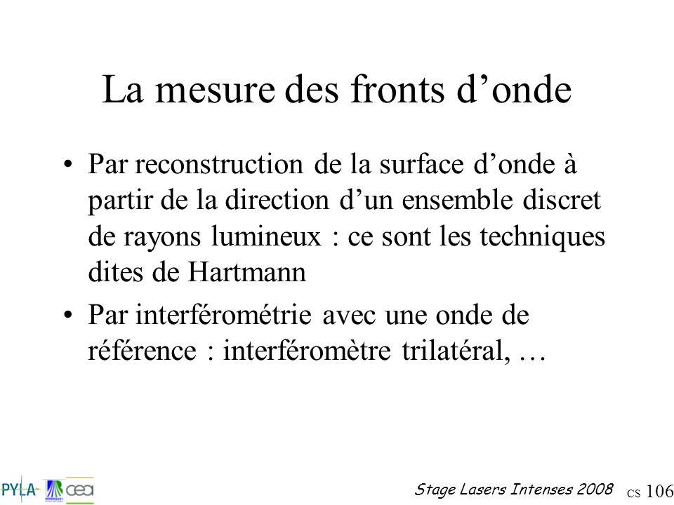 CS 106 Stage Lasers Intenses 2008 La mesure des fronts donde Par reconstruction de la surface donde à partir de la direction dun ensemble discret de r