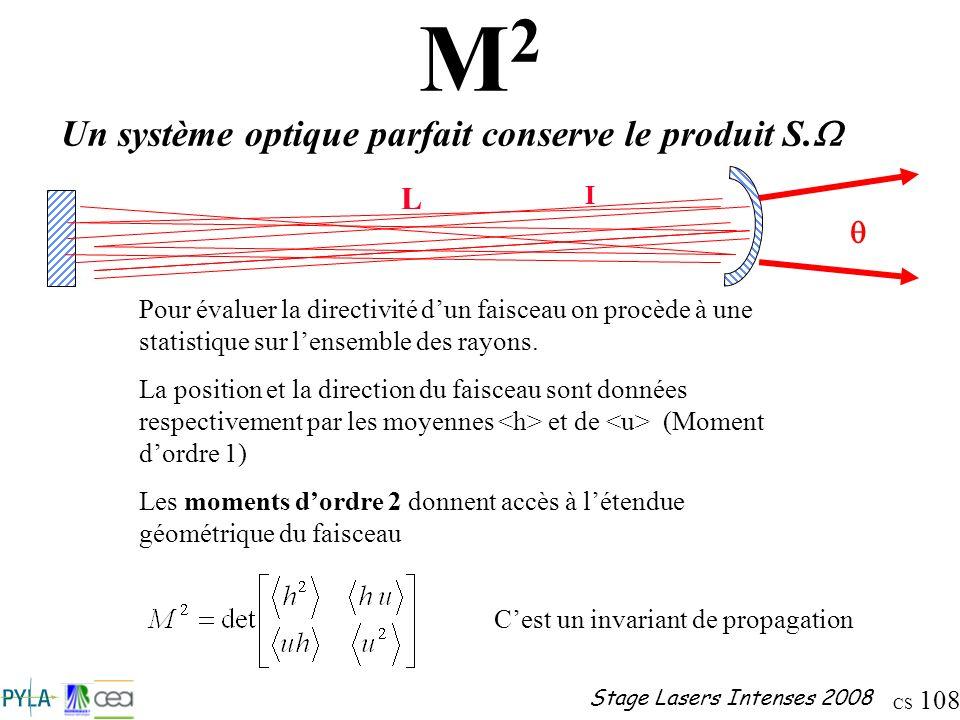 CS 108 Stage Lasers Intenses 2008 M2M2 Pour évaluer la directivité dun faisceau on procède à une statistique sur lensemble des rayons. La position et