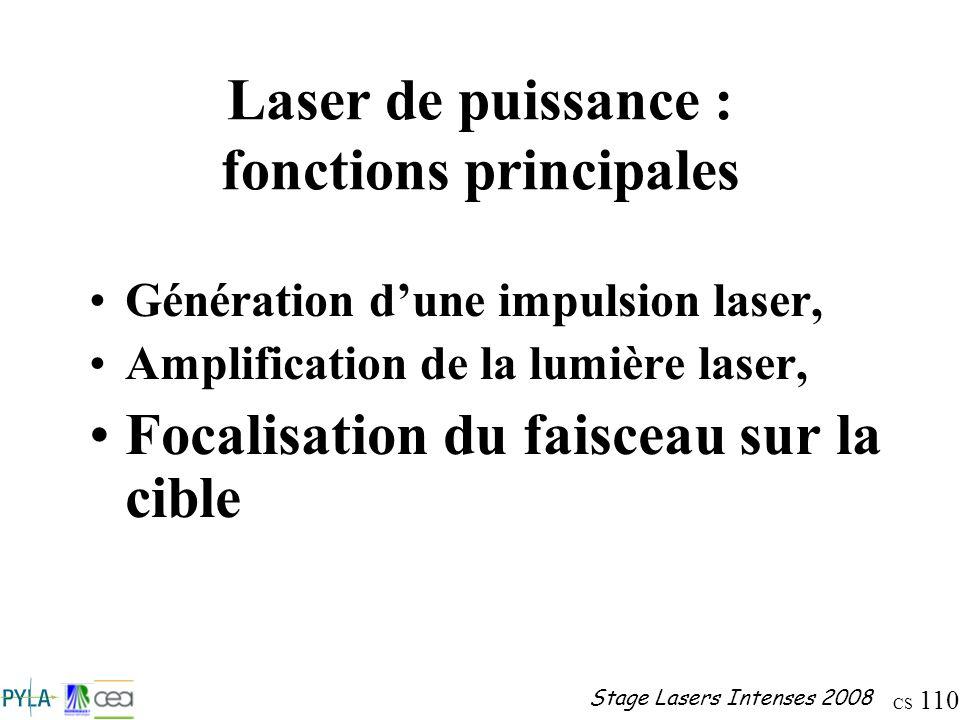 CS 110 Stage Lasers Intenses 2008 Laser de puissance : fonctions principales Génération dune impulsion laser, Amplification de la lumière laser, Focal