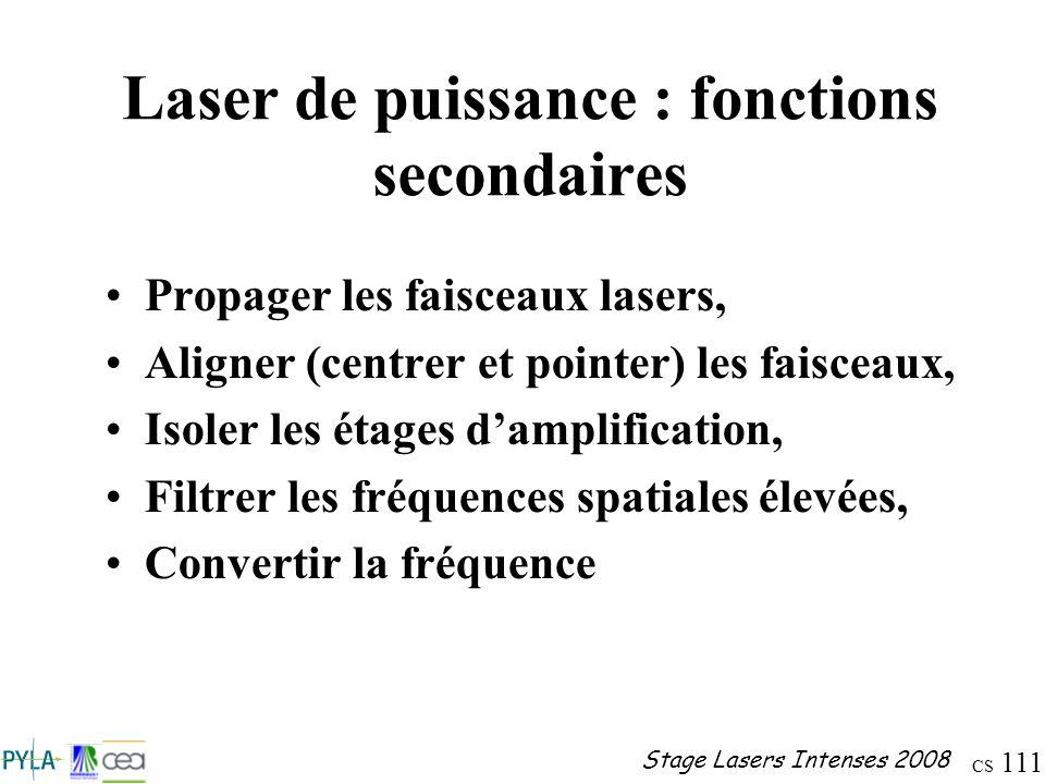 CS 111 Stage Lasers Intenses 2008 Laser de puissance : fonctions secondaires Propager les faisceaux lasers, Aligner (centrer et pointer) les faisceaux
