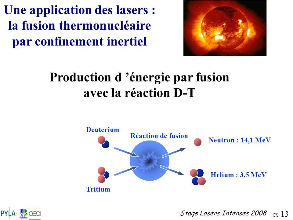 CS 13 Stage Lasers Intenses 2008 Une application des lasers : la fusion thermonucléaire par confinement inertiel Production d énergie par fusion avec