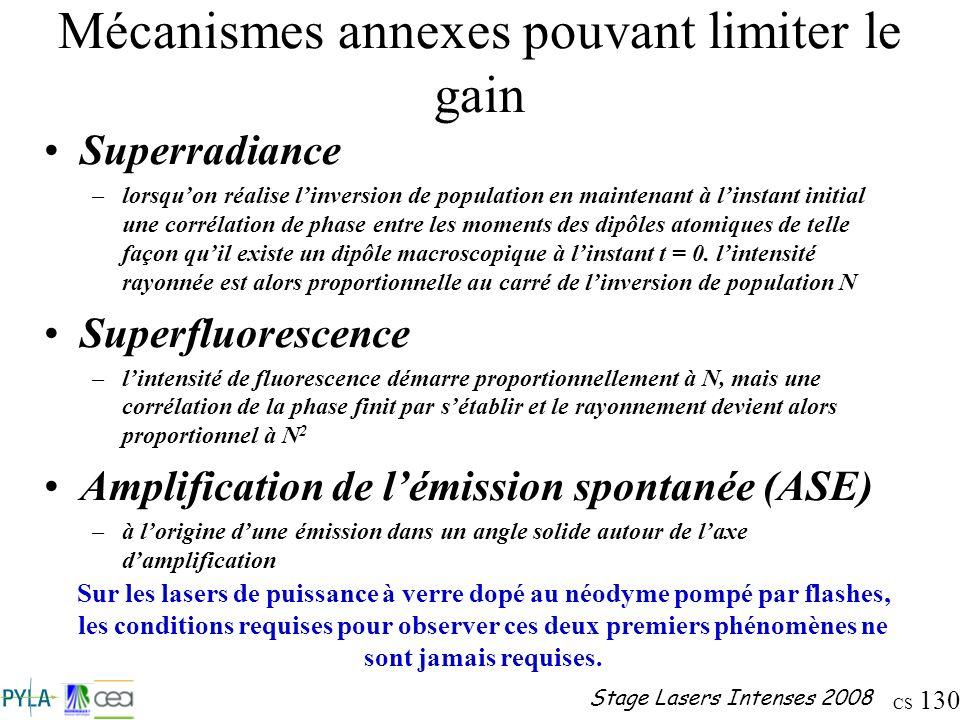 CS 130 Stage Lasers Intenses 2008 Mécanismes annexes pouvant limiter le gain Superradiance –lorsquon réalise linversion de population en maintenant à