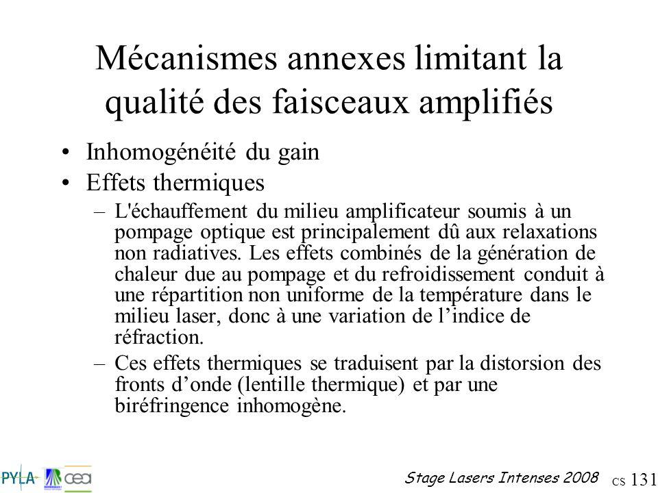 CS 131 Stage Lasers Intenses 2008 Mécanismes annexes limitant la qualité des faisceaux amplifiés Inhomogénéité du gain Effets thermiques –L'échauffeme