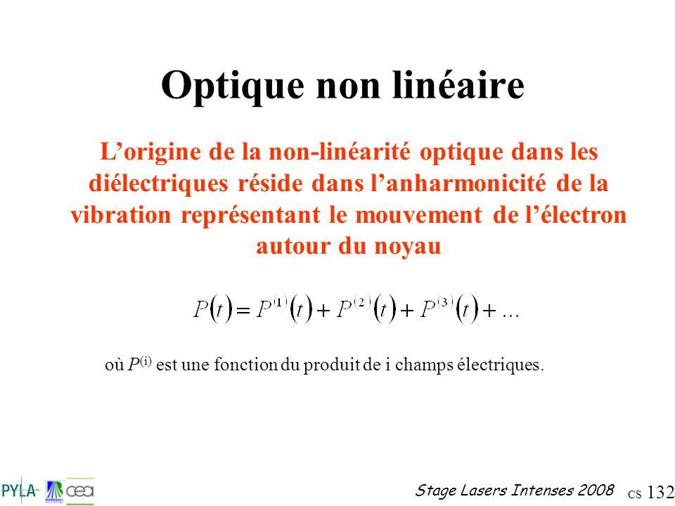 CS 132 Stage Lasers Intenses 2008 Optique non linéaire Lorigine de la non-linéarité optique dans les diélectriques réside dans lanharmonicité de la vi