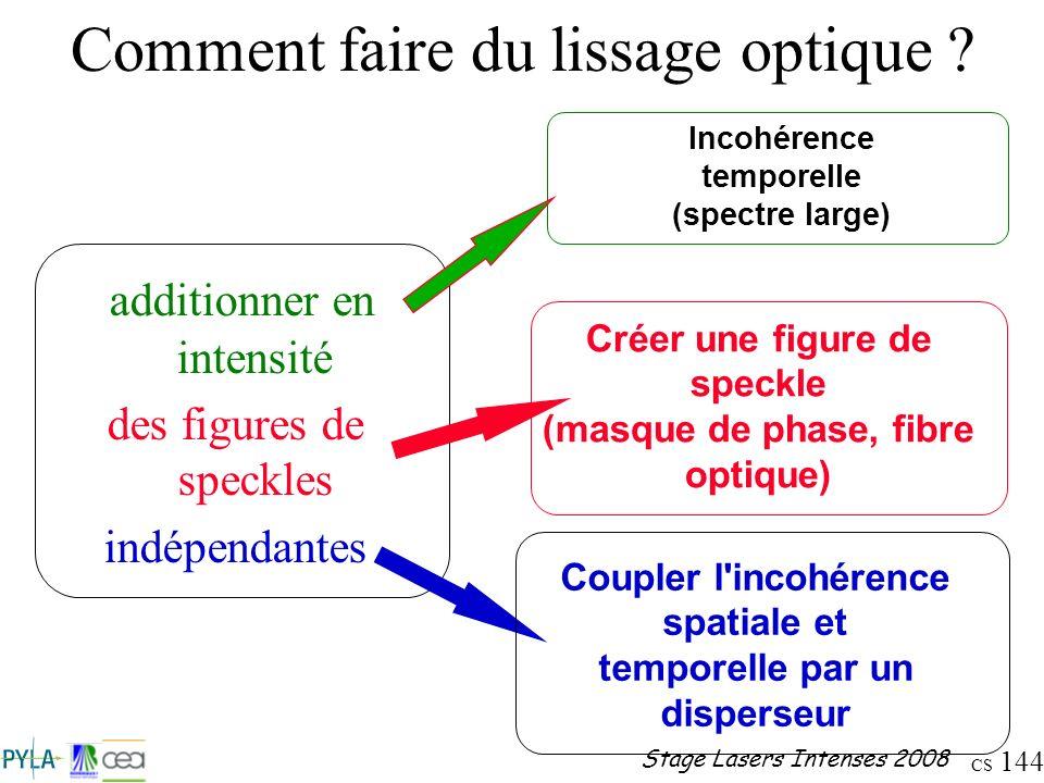 CS 144 Stage Lasers Intenses 2008 Comment faire du lissage optique ? additionner en intensité des figures de speckles indépendantes Créer une figure d