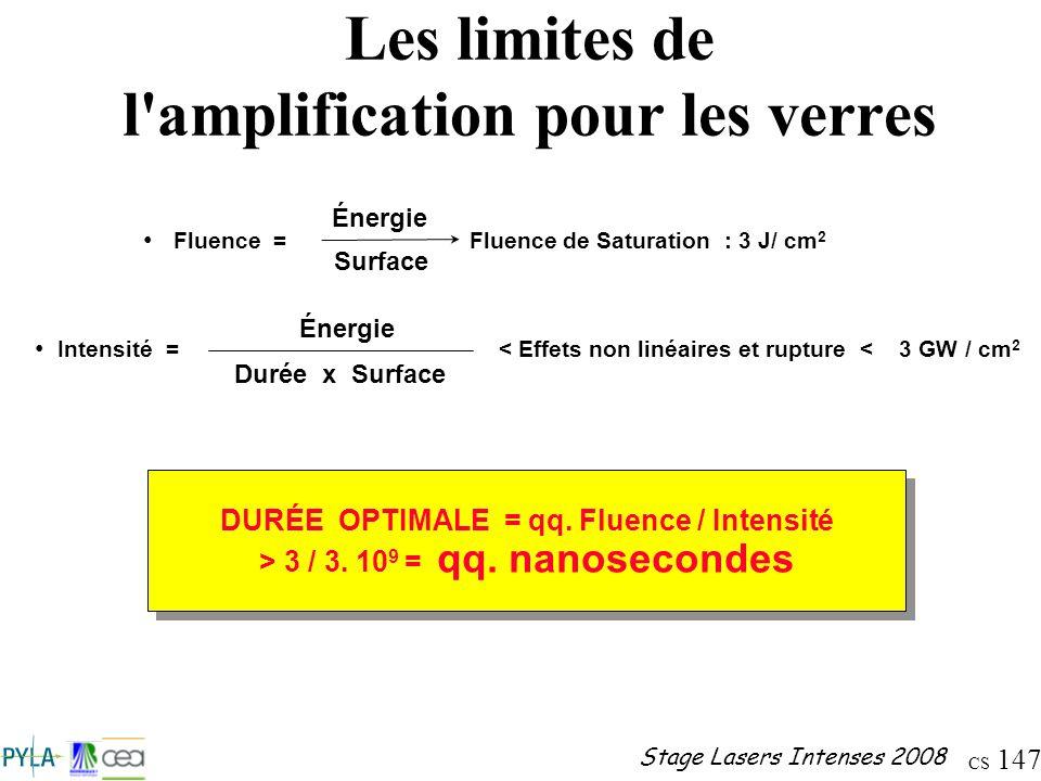 CS 147 Stage Lasers Intenses 2008 Les limites de l'amplification pour les verres Fluence = Fluence de Saturation : 3 J/ cm 2 Énergie Surface Intensité