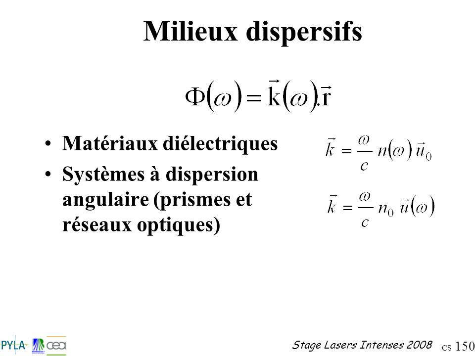 CS 150 Stage Lasers Intenses 2008 Milieux dispersifs Matériaux diélectriques Systèmes à dispersion angulaire (prismes et réseaux optiques)