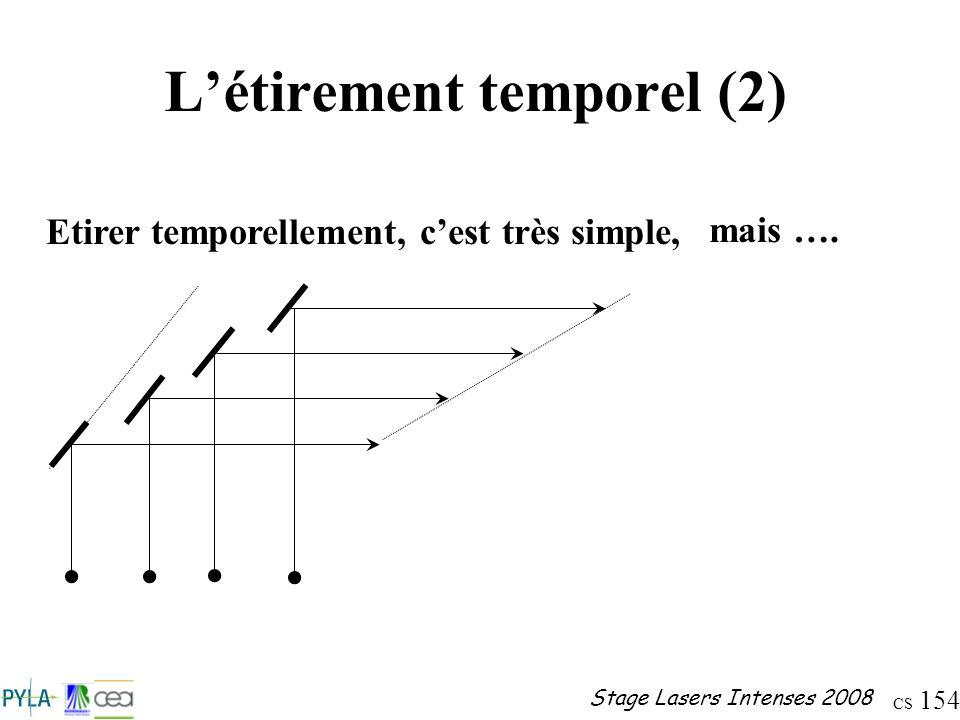 CS 154 Stage Lasers Intenses 2008 Létirement temporel (2) Etirer temporellement, cest très simple, mais ….