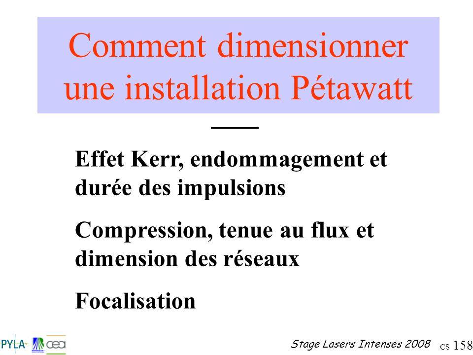 CS 158 Stage Lasers Intenses 2008 Comment dimensionner une installation Pétawatt ____ Effet Kerr, endommagement et durée des impulsions Compression, t