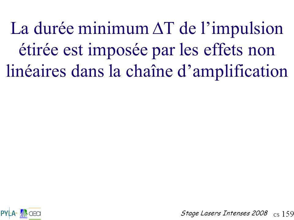 CS 159 Stage Lasers Intenses 2008 La durée minimum T de limpulsion étirée est imposée par les effets non linéaires dans la chaîne damplification