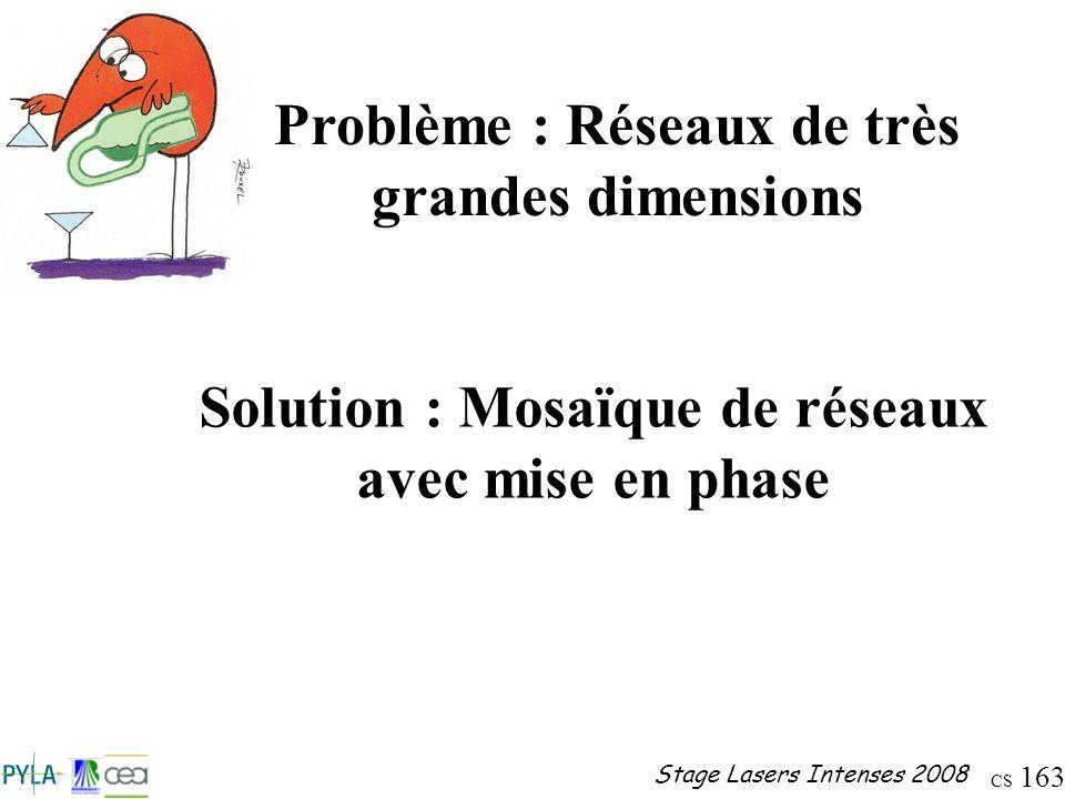 CS 163 Stage Lasers Intenses 2008 Problème : Réseaux de très grandes dimensions Solution : Mosaïque de réseaux avec mise en phase
