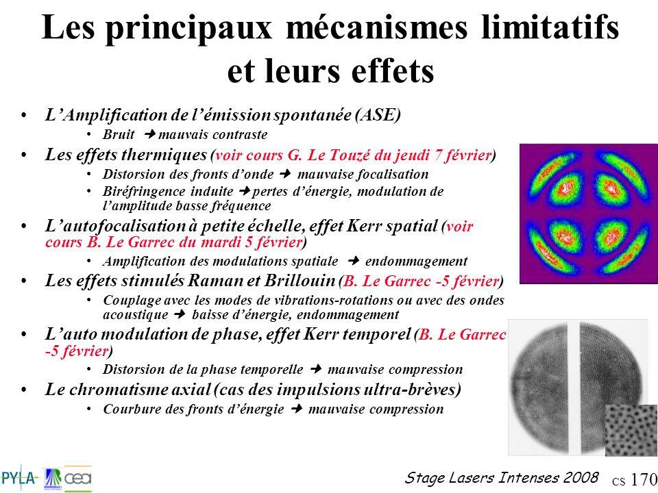 CS 170 Stage Lasers Intenses 2008 Les principaux mécanismes limitatifs et leurs effets LAmplification de lémission spontanée (ASE) Bruit mauvais contr