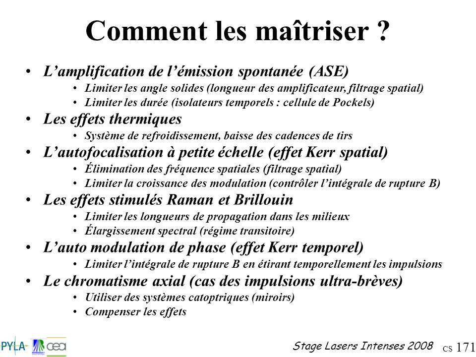 CS 171 Stage Lasers Intenses 2008 Comment les maîtriser ? Lamplification de lémission spontanée (ASE) Limiter les angle solides (longueur des amplific