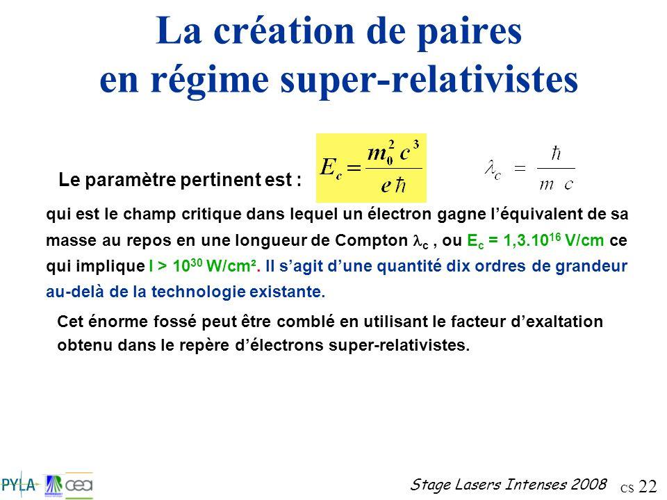 CS 22 Stage Lasers Intenses 2008 La création de paires en régime super-relativistes Le paramètre pertinent est : qui est le champ critique dans lequel