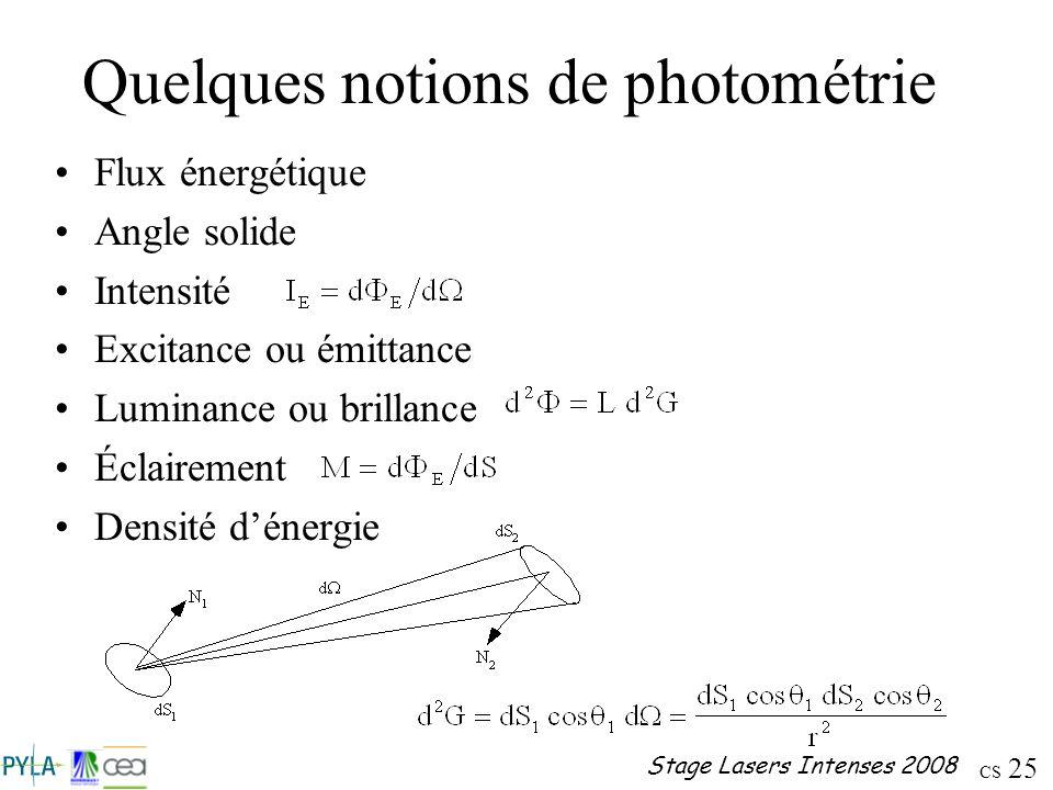 CS 25 Stage Lasers Intenses 2008 Quelques notions de photométrie Flux énergétique Angle solide Intensité Excitance ou émittance Luminance ou brillance