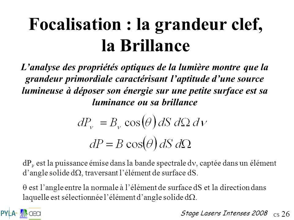 CS 26 Stage Lasers Intenses 2008 Focalisation : la grandeur clef, la Brillance Lanalyse des propriétés optiques de la lumière montre que la grandeur p