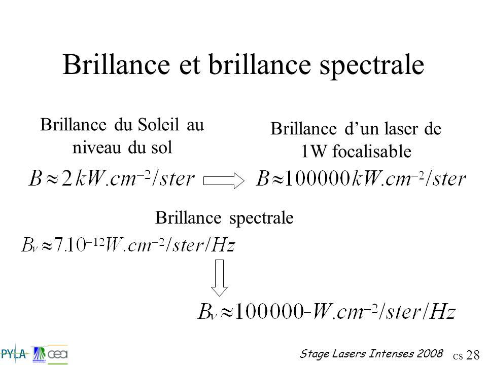 CS 28 Stage Lasers Intenses 2008 Brillance et brillance spectrale Brillance du Soleil au niveau du sol Brillance dun laser de 1W focalisable Brillance