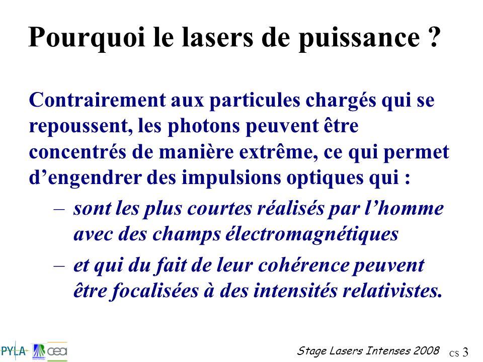 CS 3 Stage Lasers Intenses 2008 Pourquoi le lasers de puissance ? Contrairement aux particules chargés qui se repoussent, les photons peuvent être con