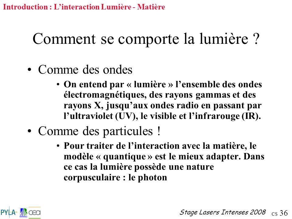 CS 36 Stage Lasers Intenses 2008 Comment se comporte la lumière ? Comme des ondes On entend par « lumière » lensemble des ondes électromagnétiques, de