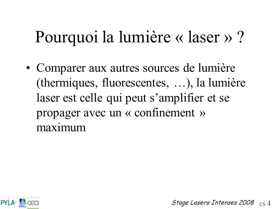 CS 4 Stage Lasers Intenses 2008 Pourquoi la lumière « laser » ? Comparer aux autres sources de lumière (thermiques, fluorescentes, …), la lumière lase