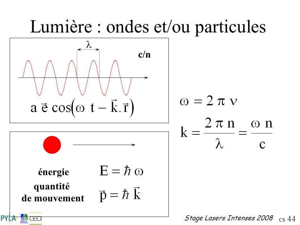 CS 44 Stage Lasers Intenses 2008 Lumière : ondes et/ou particules c/n énergie quantité de mouvement