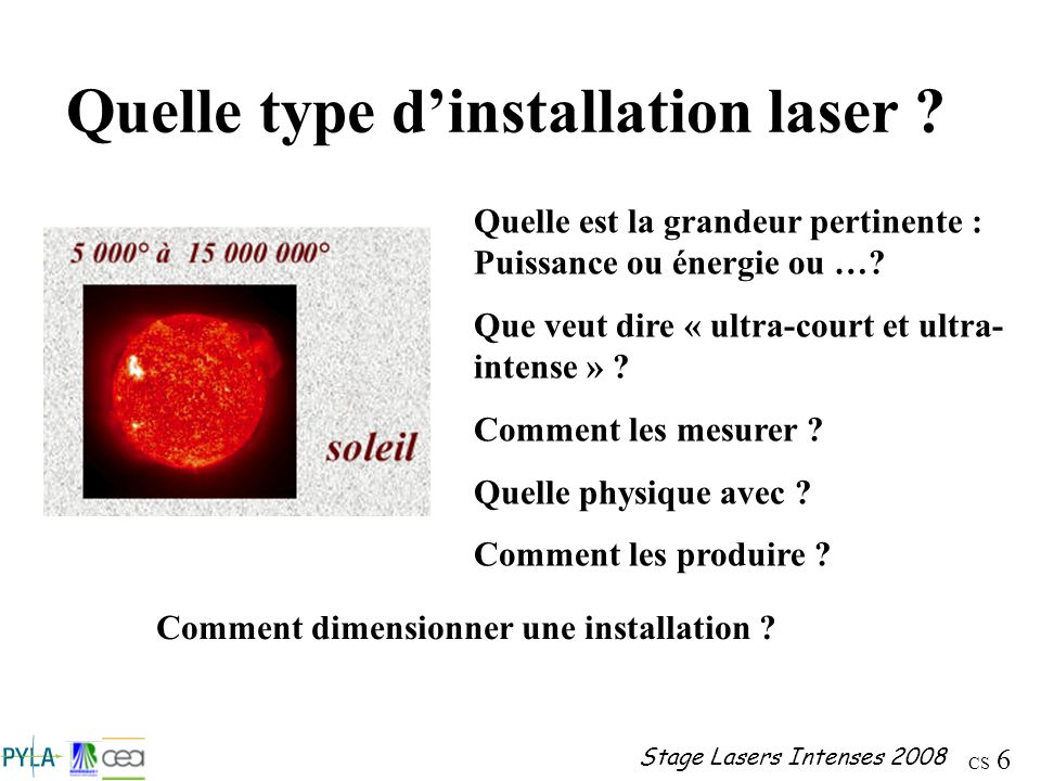 CS 37 Stage Lasers Intenses 2008 Ondes ultravioletrayons X rayons infrarougeondes radiomicro-ondes 10 -9 m10 -3 m10 -12 m1 m 10 -6 m visible 400 – 780 nm