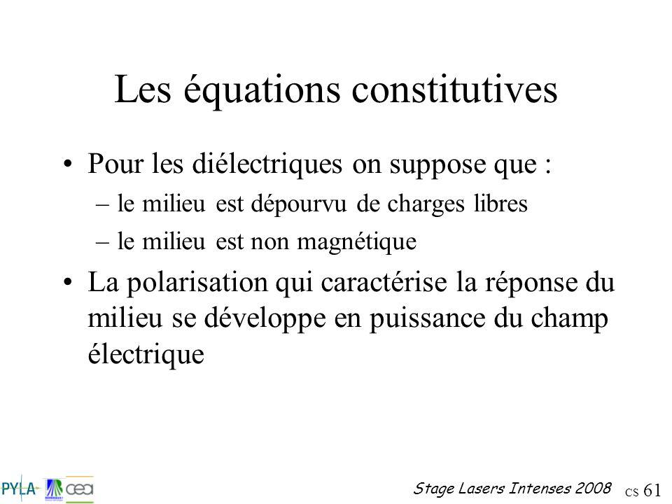 CS 61 Stage Lasers Intenses 2008 Les équations constitutives Pour les diélectriques on suppose que : –le milieu est dépourvu de charges libres –le mil