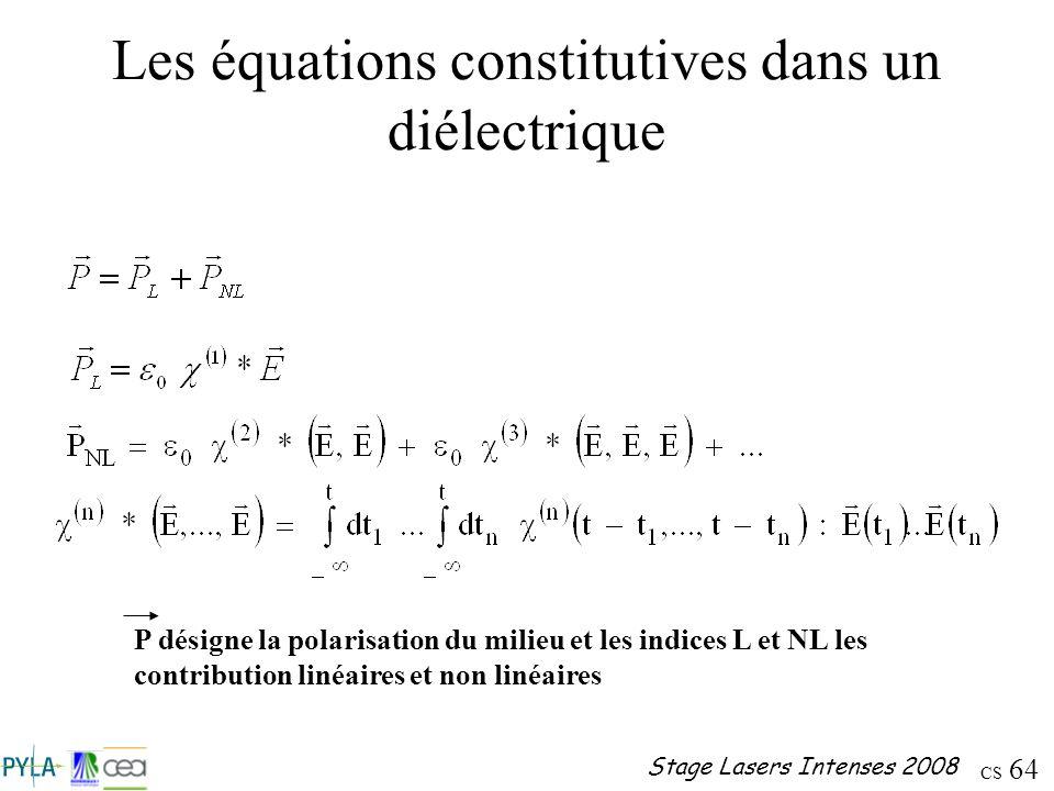 CS 64 Stage Lasers Intenses 2008 Les équations constitutives dans un diélectrique P désigne la polarisation du milieu et les indices L et NL les contr