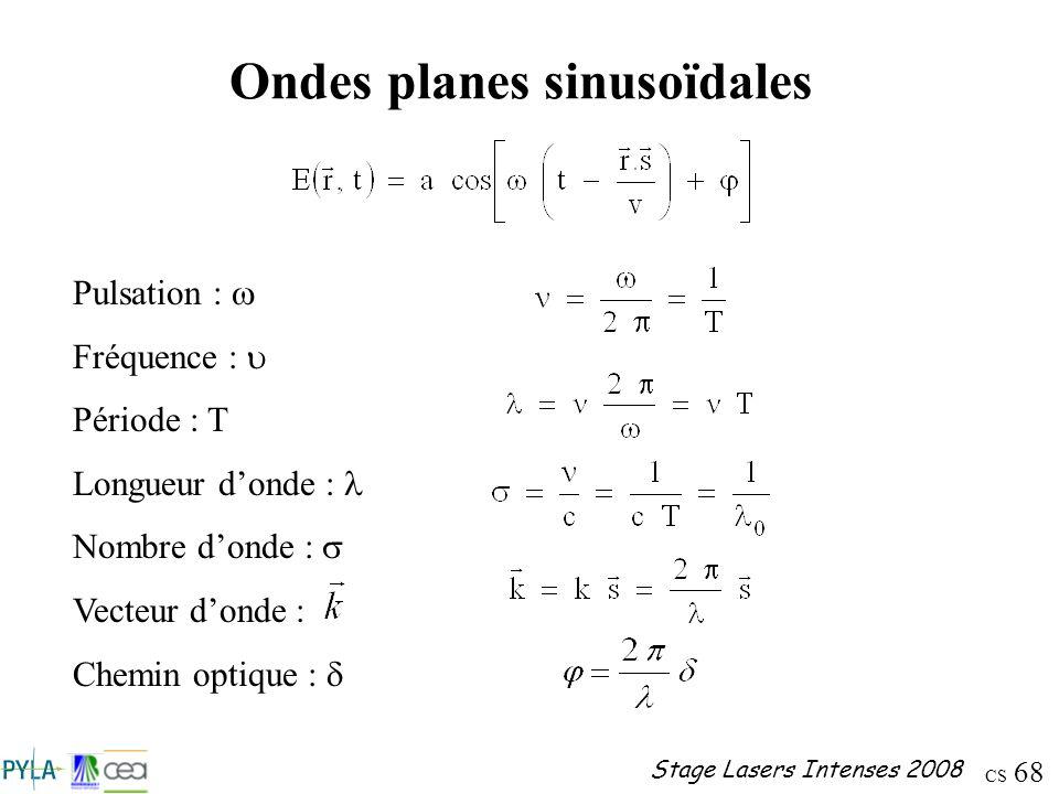 CS 68 Stage Lasers Intenses 2008 Ondes planes sinusoïdales Pulsation : Fréquence : Période : T Longueur donde : Nombre donde : Vecteur donde : Chemin