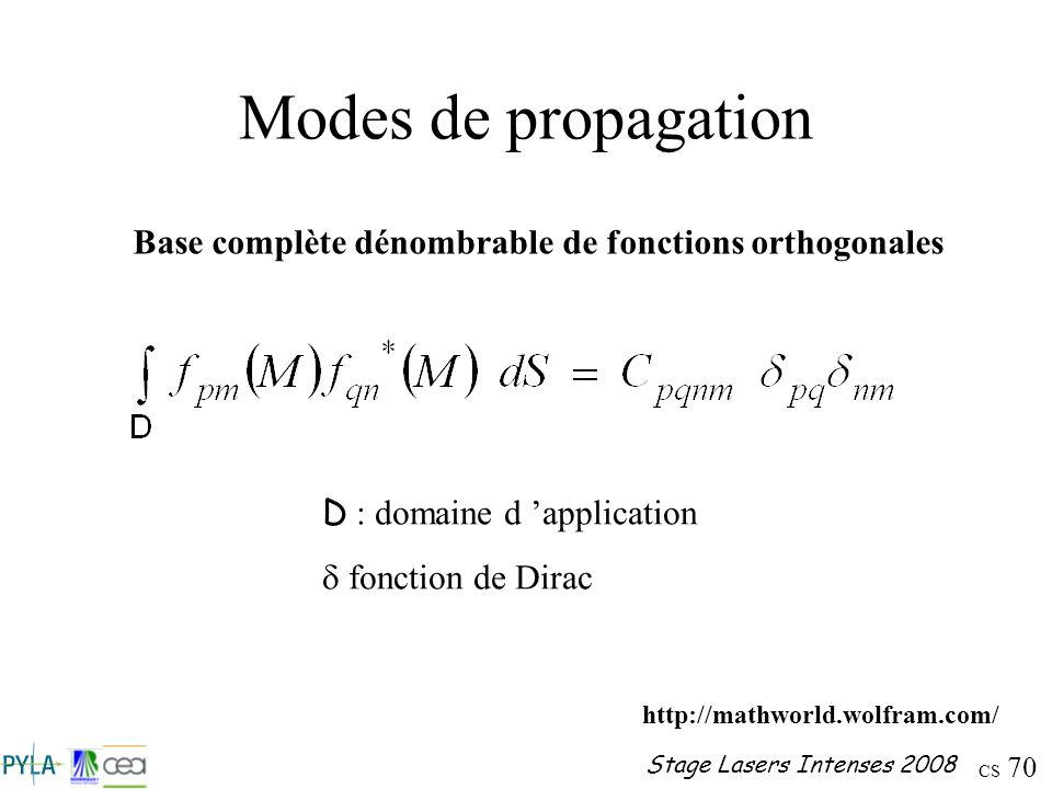CS 70 Stage Lasers Intenses 2008 Modes de propagation Base complète dénombrable de fonctions orthogonales D : domaine d application fonction de Dirac